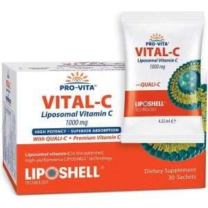 Liposomal Vitamin C 1000 mg x 30 Sachets, European Quality, Quali-C Vitamin C, Highest Bioavailability, Strong Collagen, Immune System Booster, Best Lypo Spheric Vitamin C to Support Anti Aging Skin