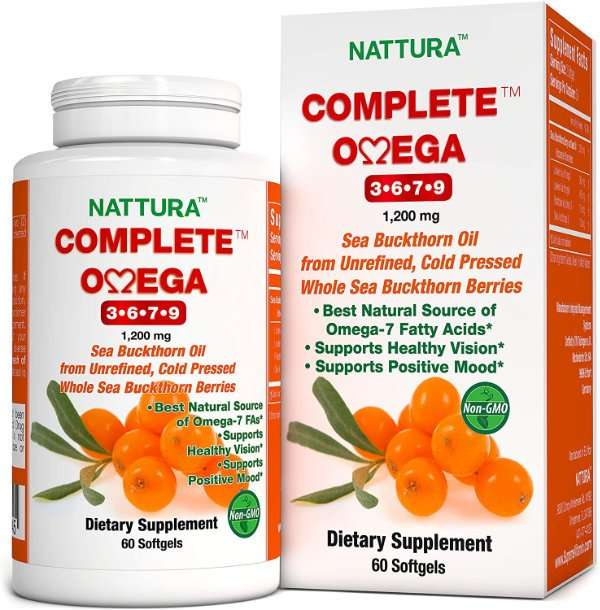 Complete Omega 3-6-7-9, Pure Sea Buckthorn Oil, European Quality, from Unrefined, Cold Pressed Whole Sea Buckthorn Wild Berries - Non-GMO, Certified Kosher, Gluten-Free 1 Bottle - 60 Capsules